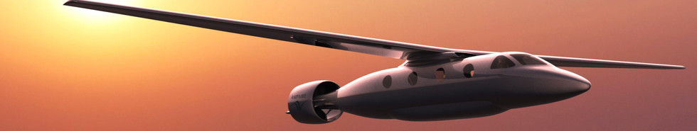 Realistic render of Tailwind™ aircraft in dusky sky