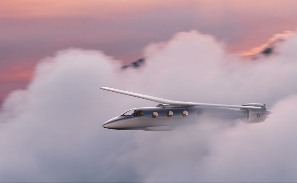 Realistic render of futuristic electric aircraft, the Ampaire Tailwind™, flying above the clouds.