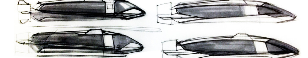 Sketches of early iterations of Tailwind™ aircraft: side views