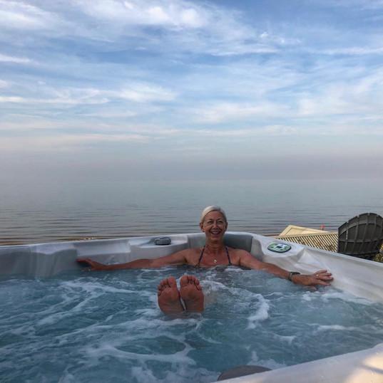Hot tub views to the beach
