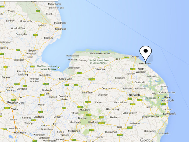 Nofolk Map of our Beach Houses Mundesley