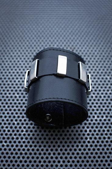 TigerBite. Black Brick Leather Cuff Bracelet with zamak charms