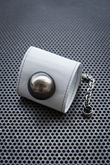 TigerBite. Snow Ball White Leather Cuff Bracelet Front