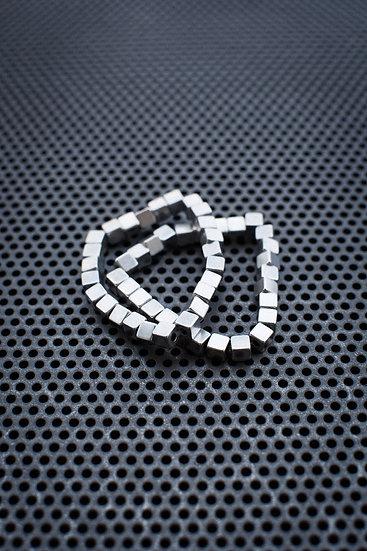 TigerBite. Silver Hematites Cubes Bracelet double