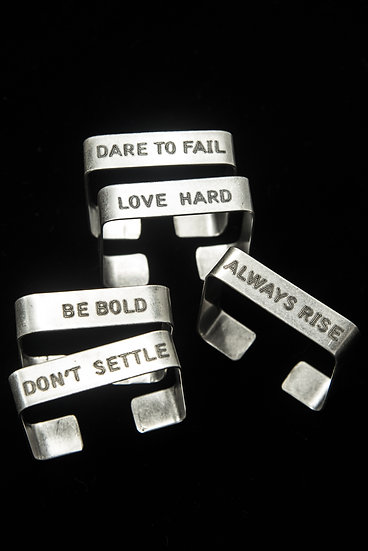 TigerBite engraved metal cuffs with quotes