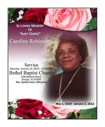 Funeral Announcements 15  for $35.00 + shipping