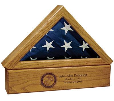 Premium  wood Flag case with an urn pedesta