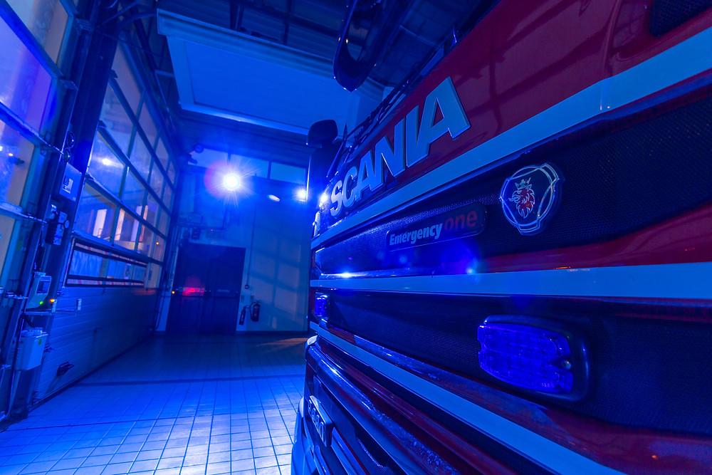 Mansfield fire engine lit in blue