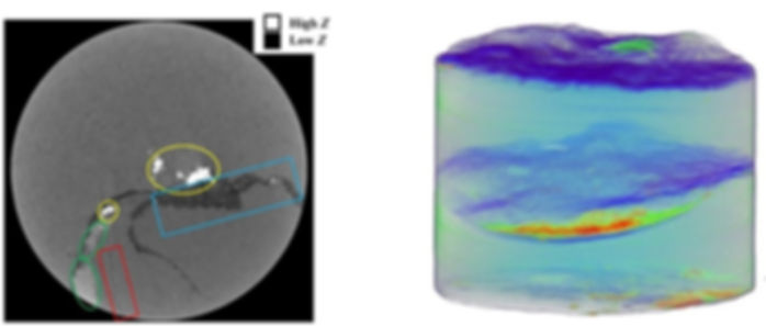 A slice and 3D view of the shale core vo
