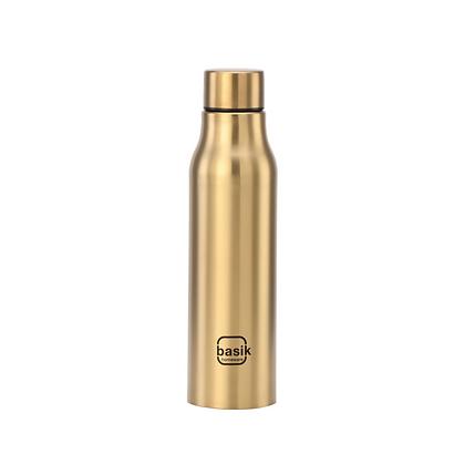 Basik Ragini Single Walled Stainless Steel Bottle, Gold, 950ml
