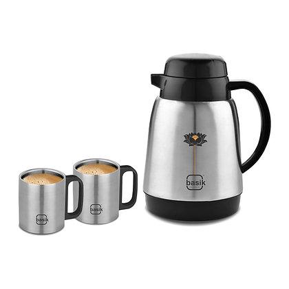 Basik Lotus Double-walled Tea Set, Stainless Steel Inner, Black