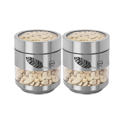 Basik Stainless Steel Platinum Containers, 2 Piece