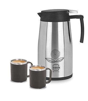 Basik Eternal Stainless Steel Tea Set, Black