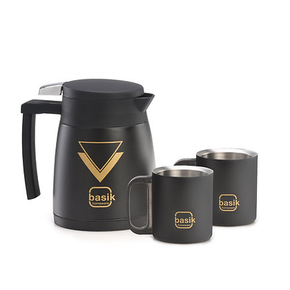 Basik Aura Stainless Steel Tea Set, Black Matt