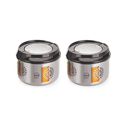 Basik Autumn Stainless Steel Storage Jar, Air-tight Lid, Set of 2