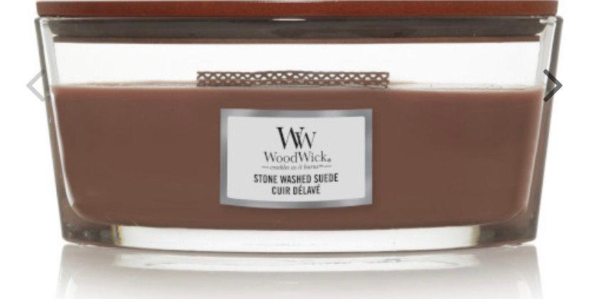 נר אליפסה  Woodwick  Stone Washed Suede