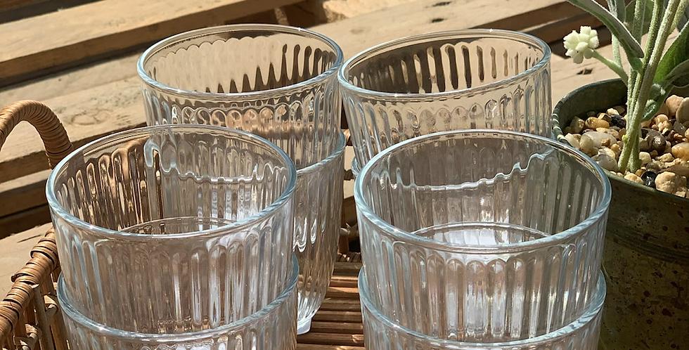 כוס מים פסים נמוכה מארז של 12 כוסות