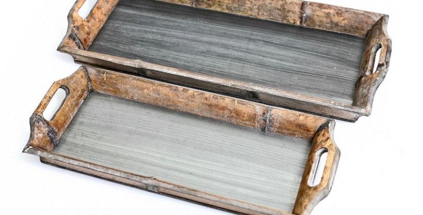 מגש עץ בשילוב מתכת