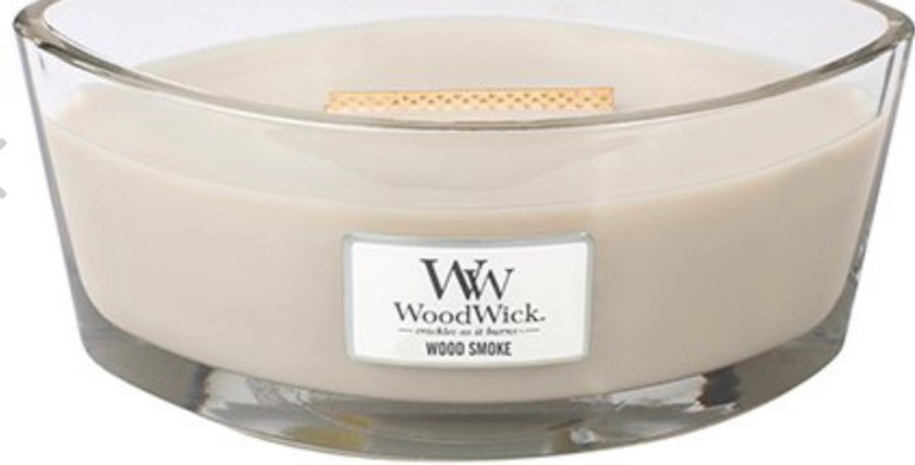 נר אליפסה  Woodwick Wood Smoke