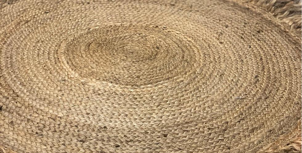 שטיח חבל עגול עם פרנזים