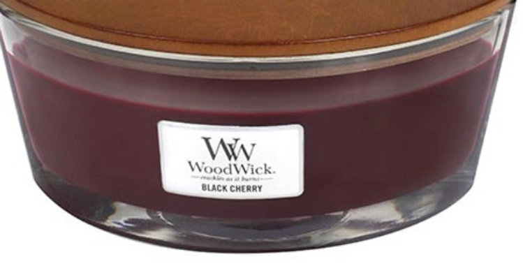 נר אליפסה  Woodwick  Black Cherry