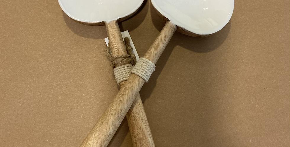 כפות עץ מנגו ציפוי לבן