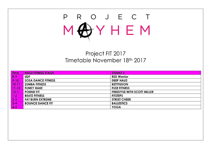 Newprojectmayhem | Timetable