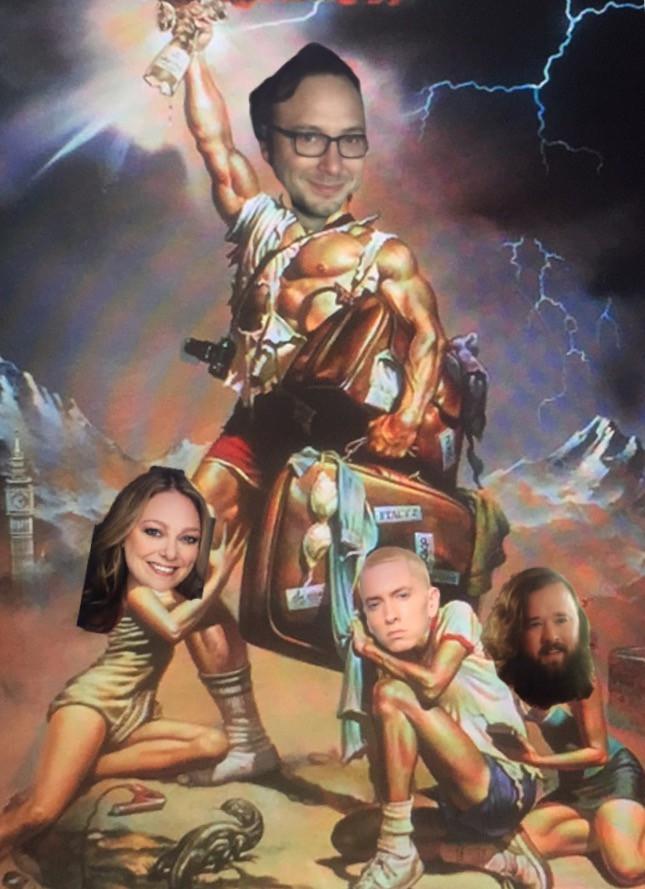 Adam, Leslie, Eminem, Haley Joel Osmet as the Griswolds