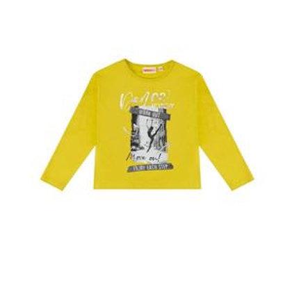 Camiseta de niña, algodón elástico, amarillo.