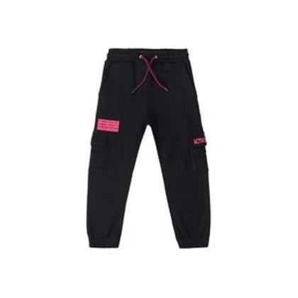 Pantalón deportivo de niña en felpa, color negro. bolsillos laterales.