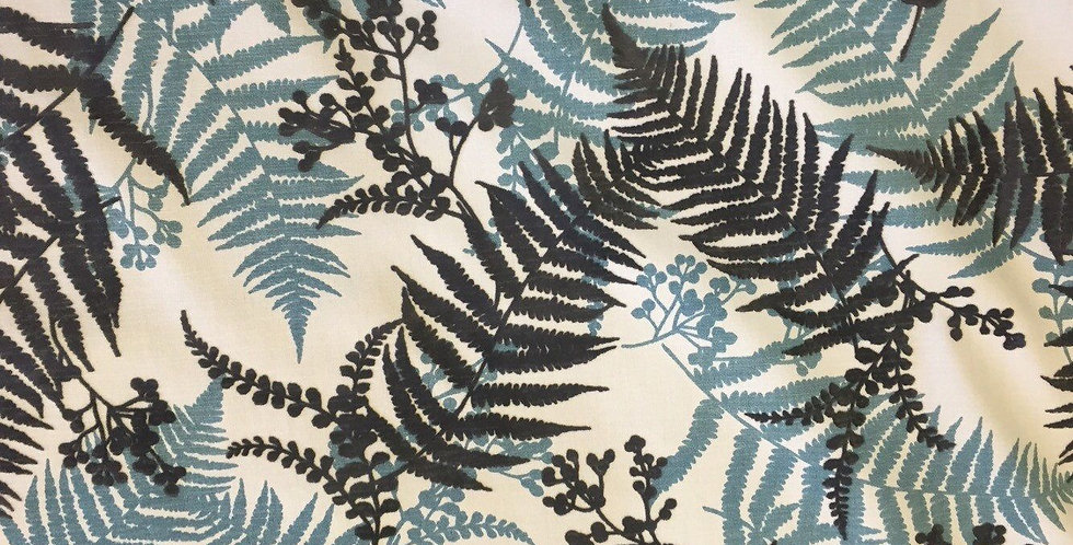Tropical Fern Fabric - Spa Blue - Gray