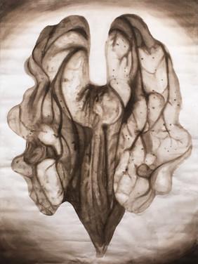 """""""Brouhaha """" III. Noix y est (160 cm X 225 cm. Kakemono, encre végétale sur toile) ."""
