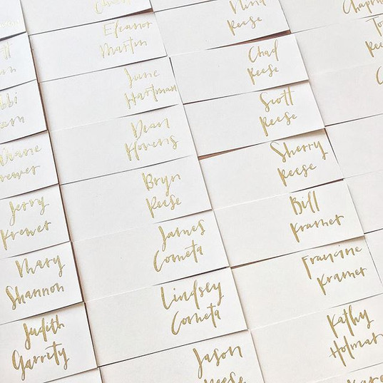 """Gold on blush in a """"messy"""" font. Filing"""