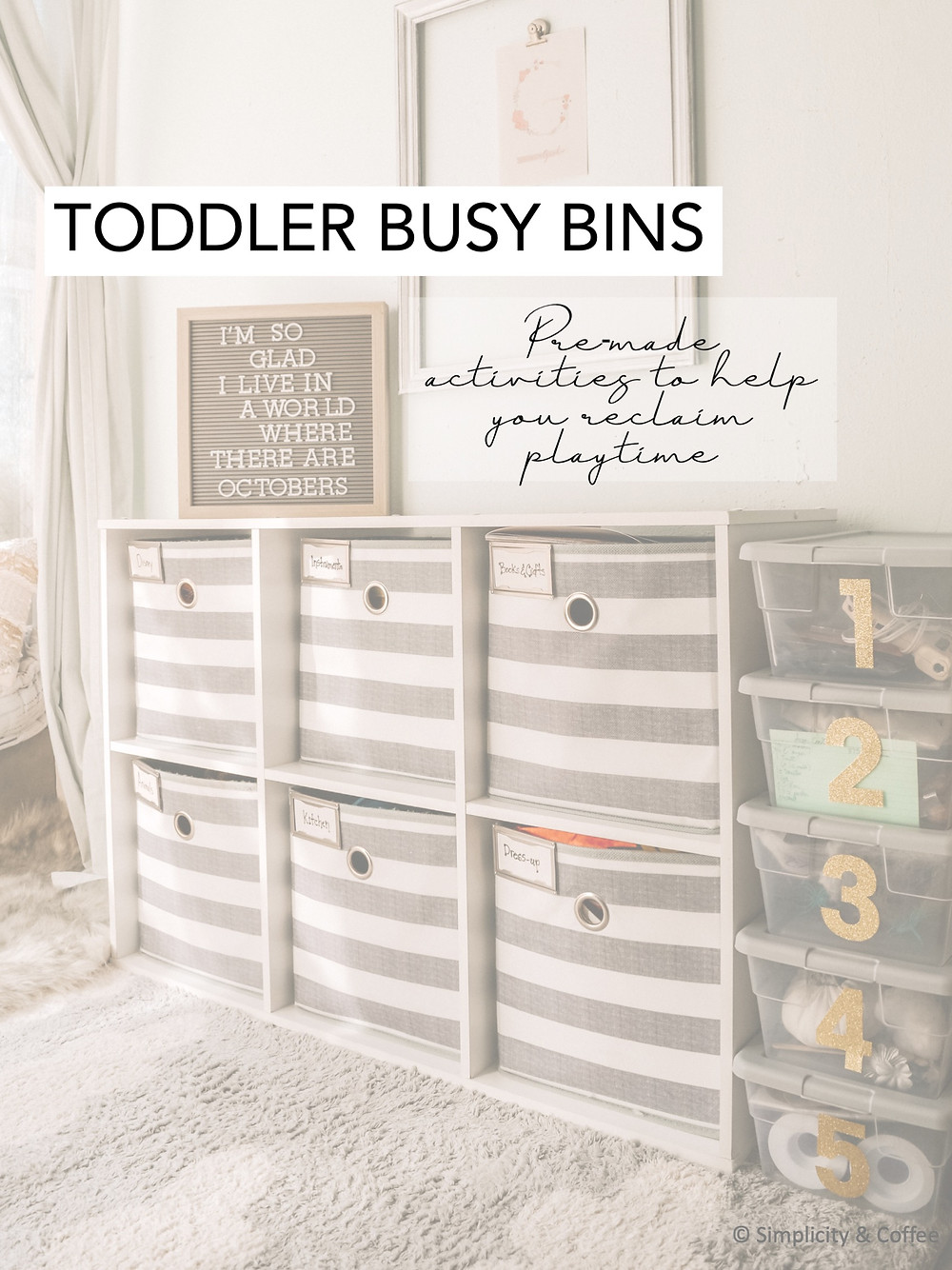 MOTHERHOOD | TODDLER BUSY BINS  Ever wonder how to keep up with your toddler's need to move quickly from activity to activity? These Busy Bins make things a little easier. Prepped crafts and activities are ready to go at the drop of a hat. Pin via Simplicityandcoffee.com #motherhood #momhack #momlife