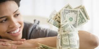 woman looking at her savings