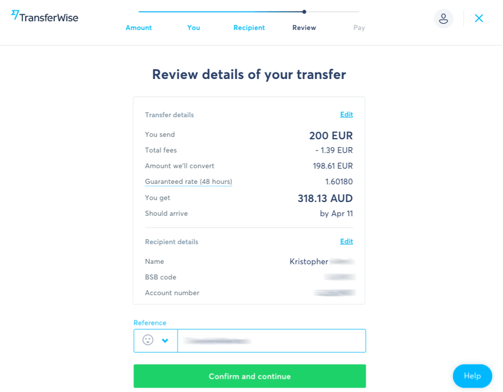 TransferWise - review details of your online transfer