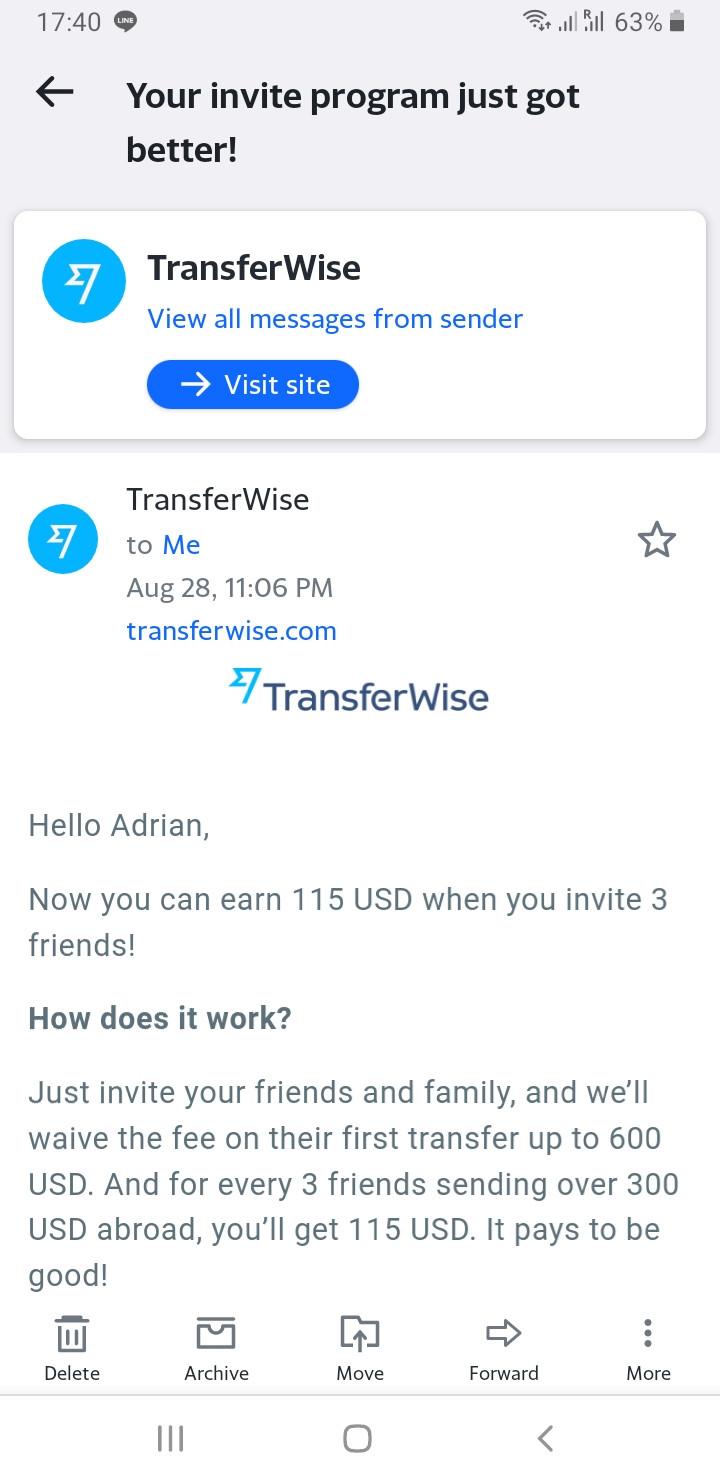 TransferWise money program to earn $115 USD