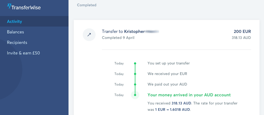 TransferWise completed form details of your online money transfer