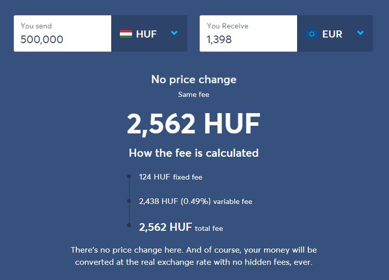 HUF-EUR cost on TransferWise