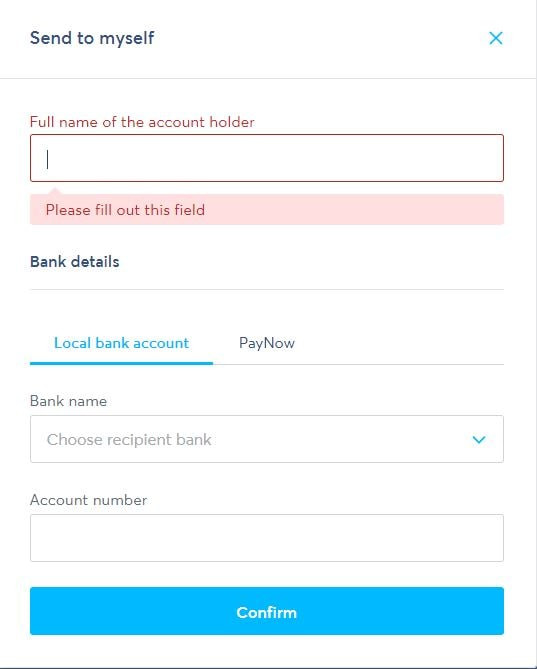 TransferWise - Send to details to submit an online transfer