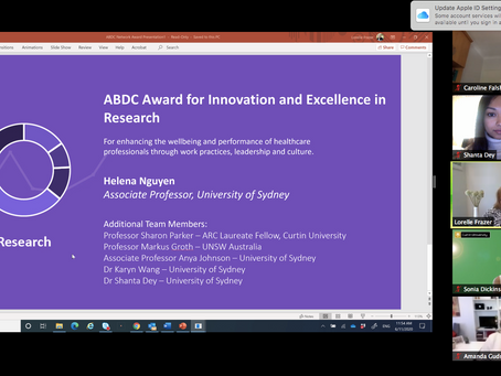 Sharon Parker and team wins inaugural ABDC Network Award for Innovation and Excellence in Research!