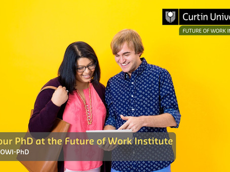 Future of Work Institute (FOWI) PhD Scholarship Opportunities (Applications close 01 Sep)