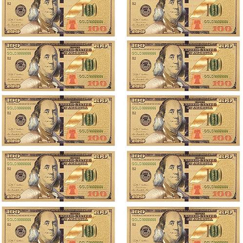 $ 100 dollar Gold Foil USD Paper Money Banknotes
