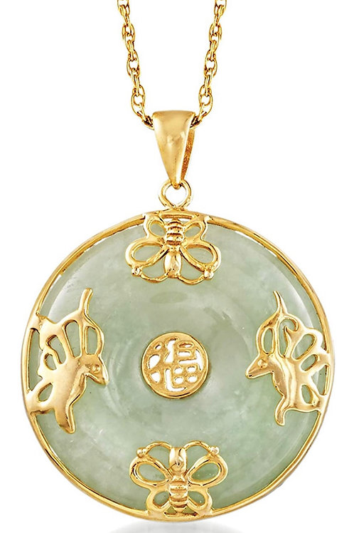 """Jade""""Good Fortune"""" Butterfly Pendant Necklace in 18kt Gold Over Sterling. 18 inc"""