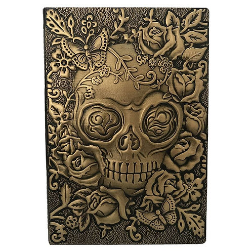 Embossed Skull Antique Diary Notebook (A5, Bronze)