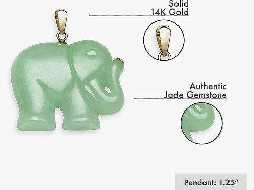 14k Yellow Gold Natural Jade Elephant Necklace Pendant Charm