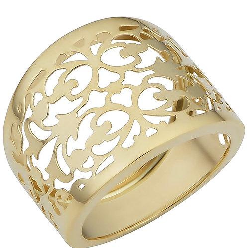 14k Yellow Gold Filgree Cigar Band Ring (16.3 mm)