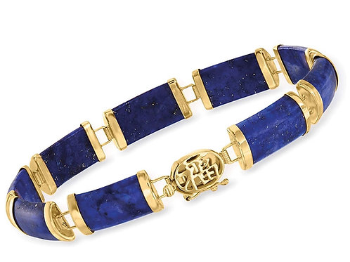 """Lapis and 14kt Yellow Gold""""Good Fortune"""" Chinese Character Bracelet"""