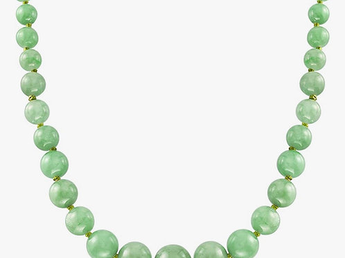 28 6-13mm Graduated Green Jade Bead Necklace With 14kt Yellow Gold