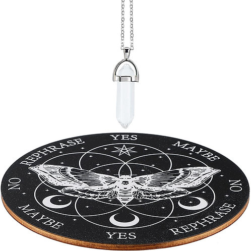 Moth Pendulum Board Wooden Divination Board Metaphysical Dowsing Board with Crys